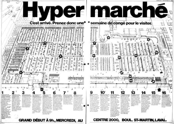 Introductie van de Hypermarche in Quebec, Canada, in 1973.
