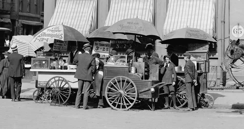 Hotdog kraam in New York 1906